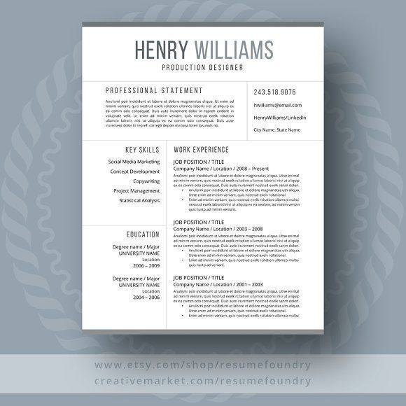 Resume Template For Word  Page Creativework  Resume