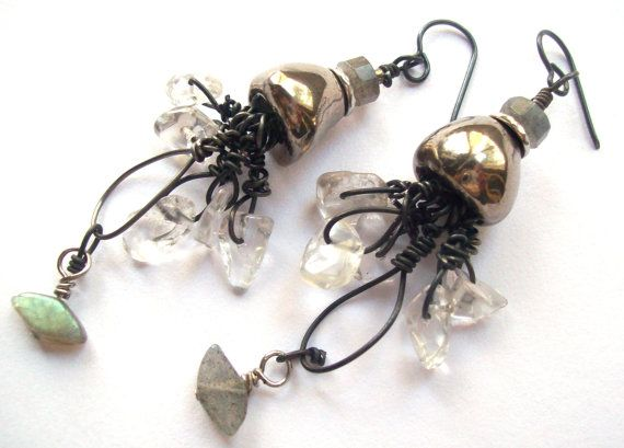 Funky Quirky Edgy Dangle Earrings, Natural Stones, Scorched Earth Bells, Labradorite, Clear Crystal Quartz Black Niobium Ear Wires