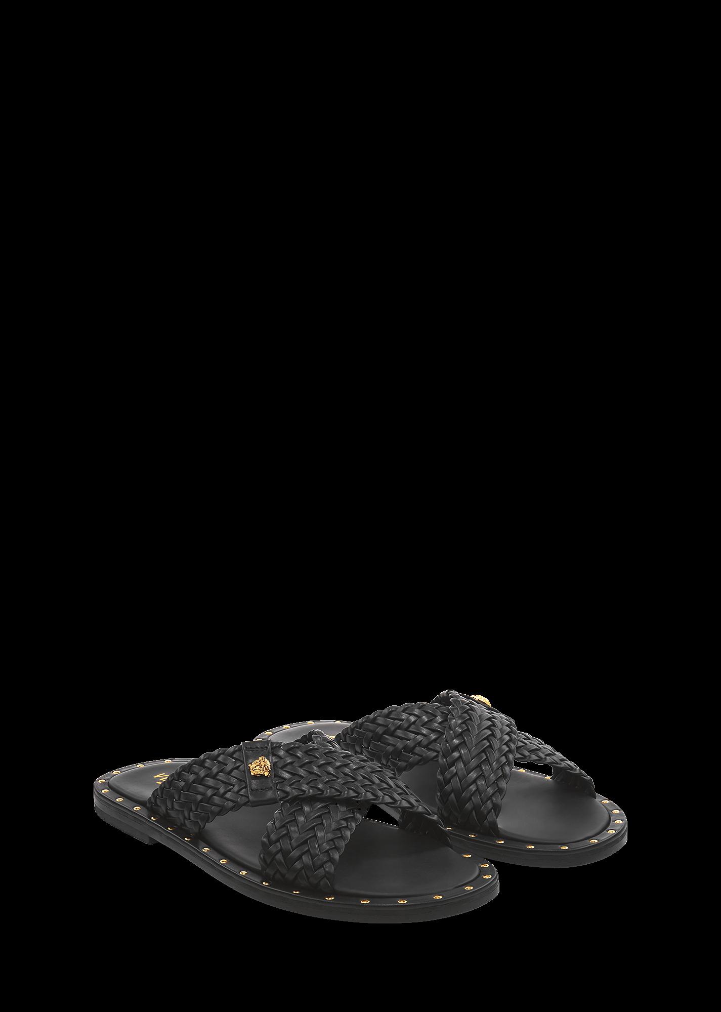 938109548 Woven Vitello Slide - Black + Gold Sandals   Slides