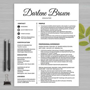 RESUME TEACHER Template For MS Word + Educator Resume Writing - guide to resume