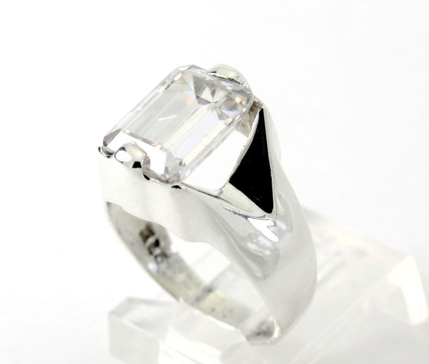 5 CT Emerald-Cut Cubic Zirconia Sterling Silver Wide Band Ring size 7.75 #Band