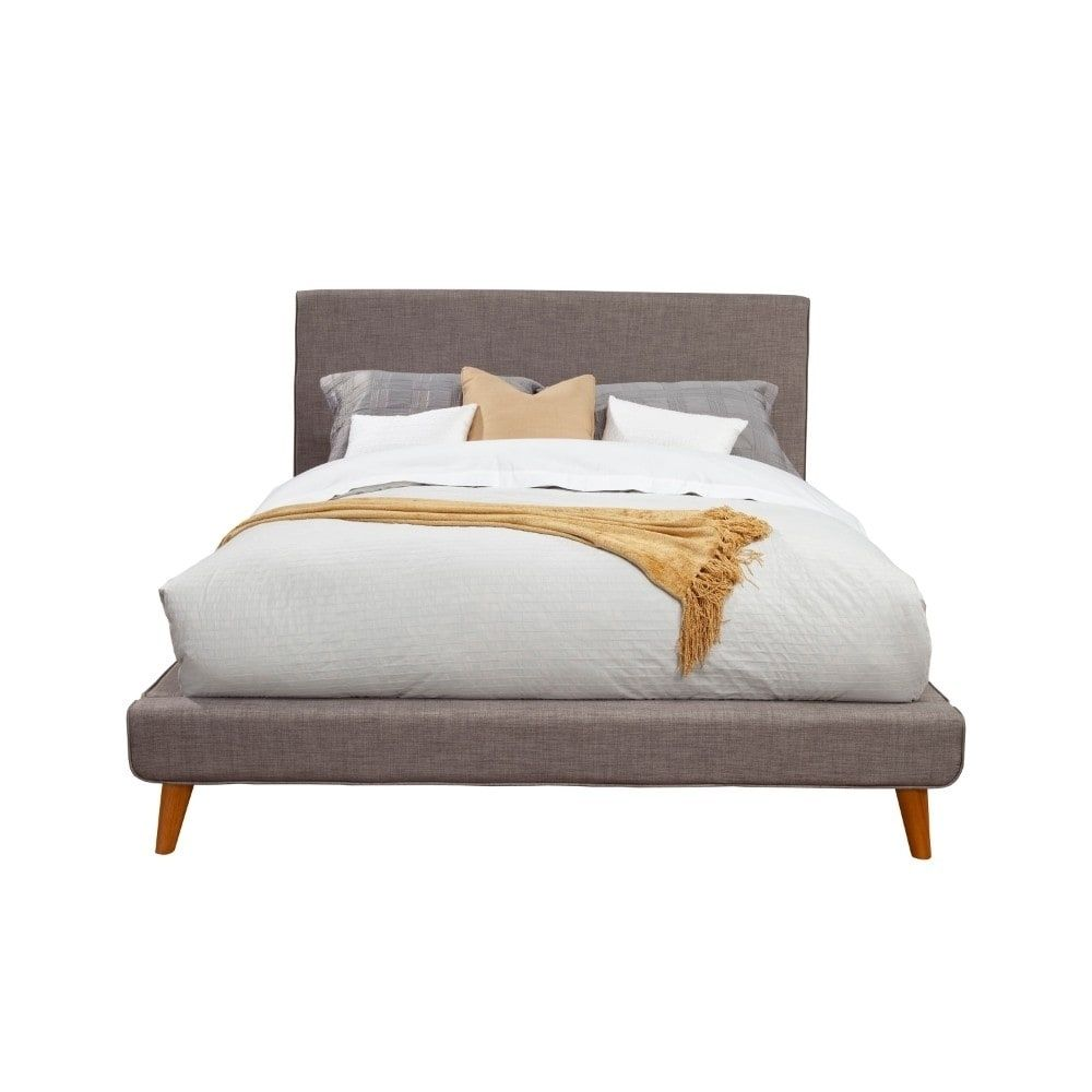 Fabric Upholstered Wooden Eastern King Size Platform Bed With