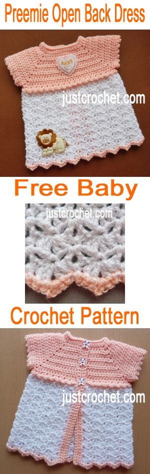 Free baby crochet pattern for premature open back dress - click to ...