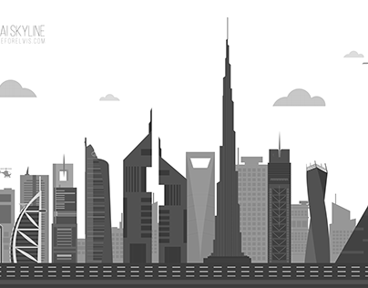 Dubai Skyline Grayscale Skyline Art City Silhouette Grayscale Image