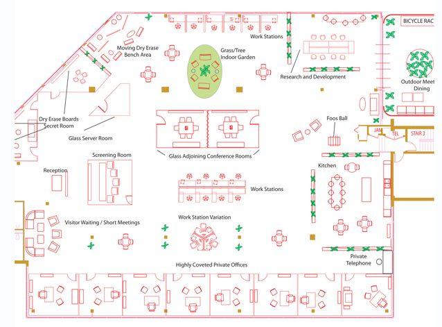 OpenPlan Open Office Floor Plan Office Space Pinterest Office Floor P