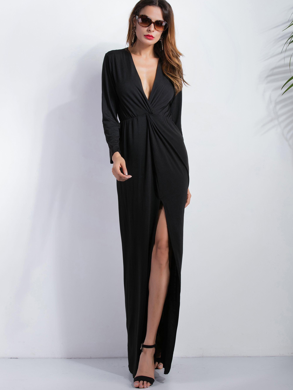 Black deep v neck slit front maxi dress sheinsheinside mobile