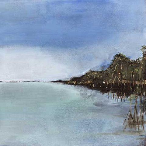 Abstract coastal landscape in blue. This piece has a mate.