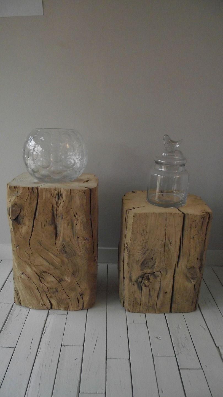 Table Billots De Bois Bois Massif Recycle Chevet Meubles Et