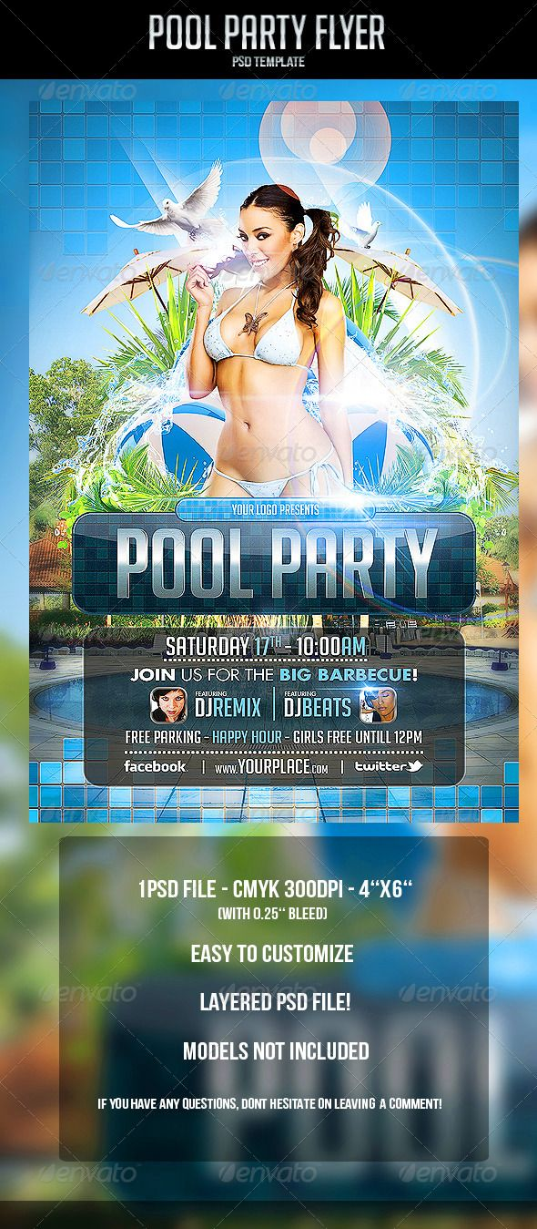 Pool Party Flyer Template #GraphicRiver Pool Party Flyer Template   CMYK  300DPI U2013 4u0027