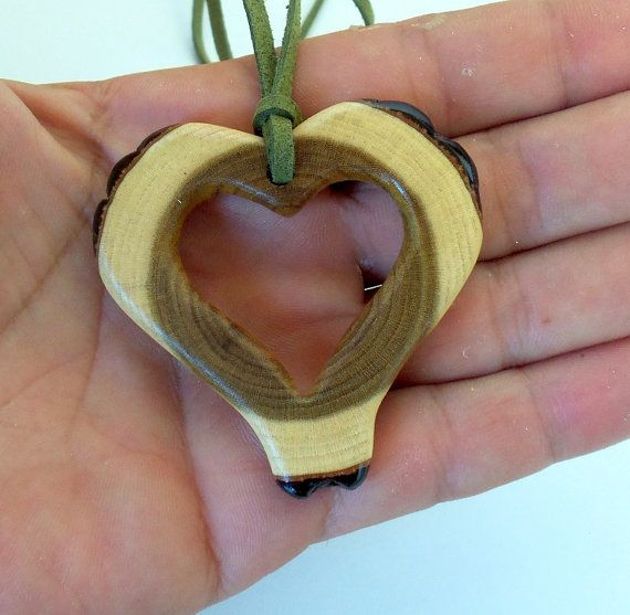 NEW Handmade Wood Pendant empty heart by forestinspiration, $22.00