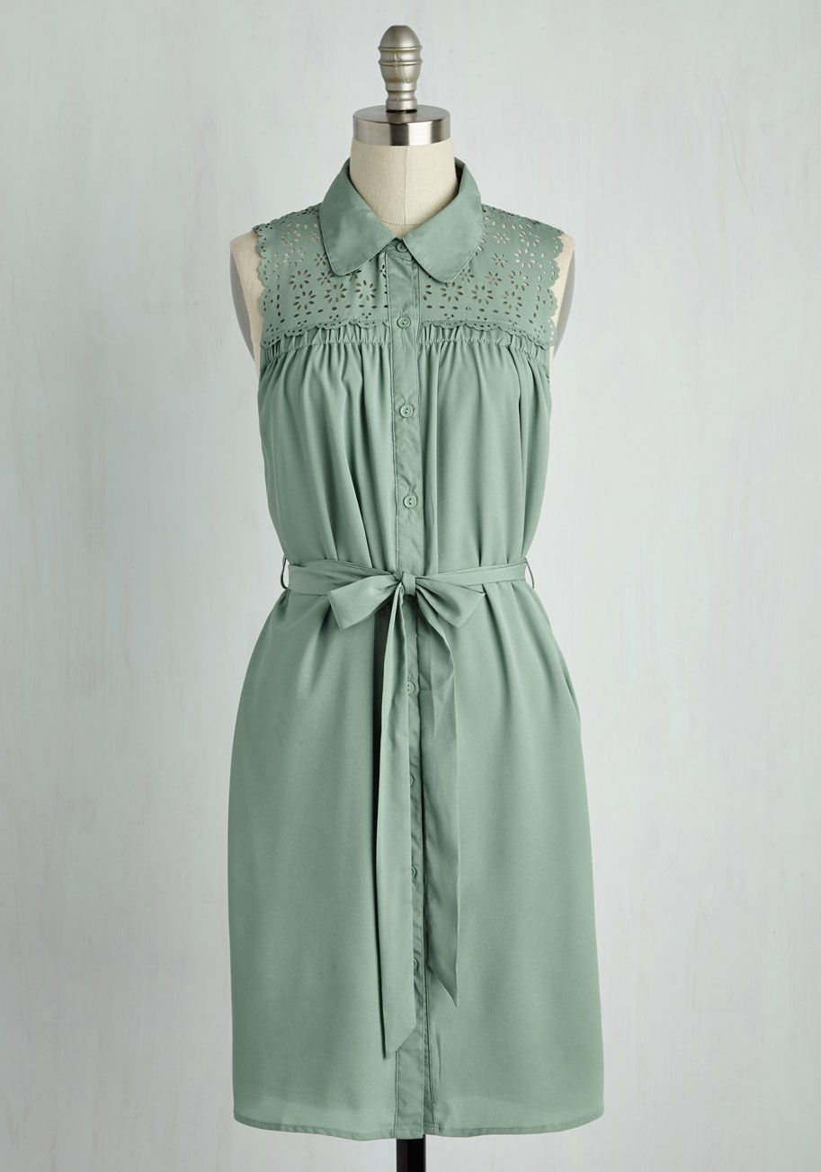 436bbe4e43d Gazebo Skylight Dress in Sage. A romantic stroll in this sage green shirt  dress leads you to a moonlit arbor.  green  modcloth