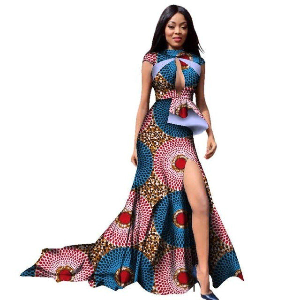 New summer long dress african short sleeve sexy deep chest long plus