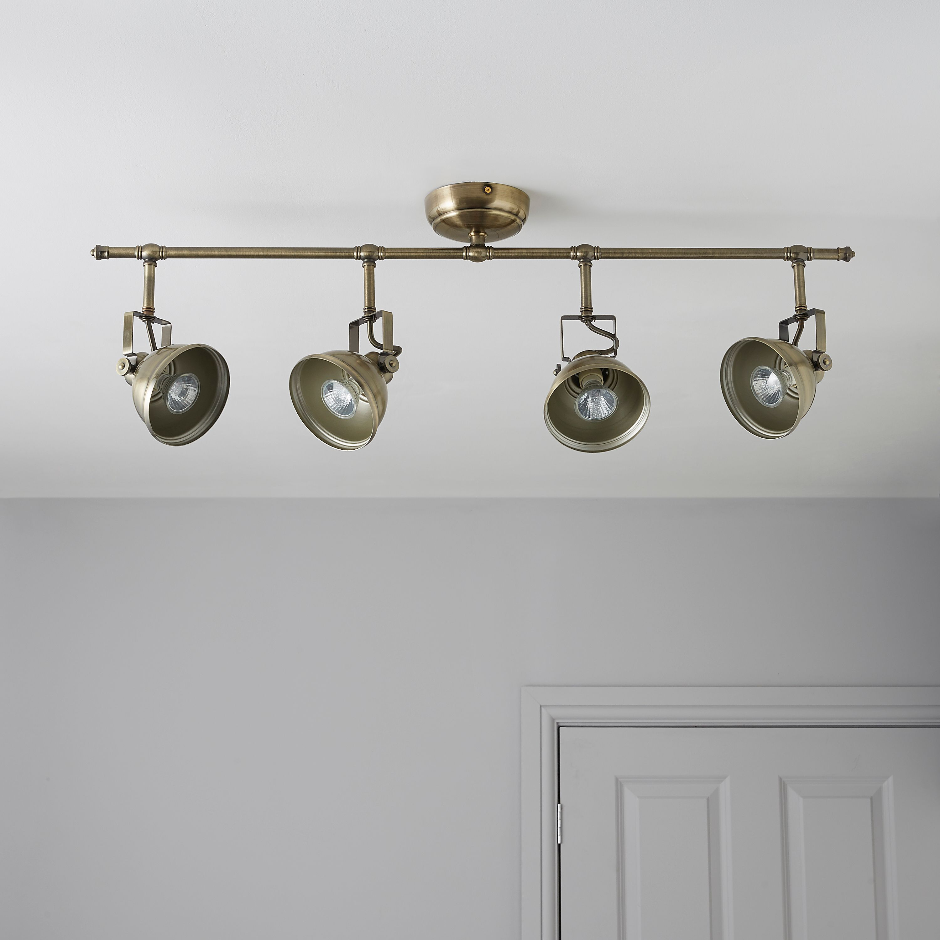 Waverley gold 4 lamp bar spotlight antique brass spotlight and bar waverley antique brass effect 4 lamp bar spotlight departments diy at bq workwithnaturefo