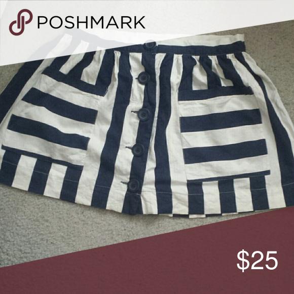 Nautical navy blue white striped mini skirt