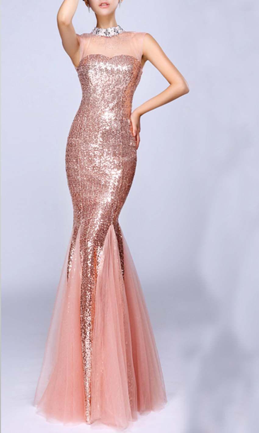 Pink Glitter High Neck Mermaid Long Prom Dress KSP354 | Prom Dresses ...