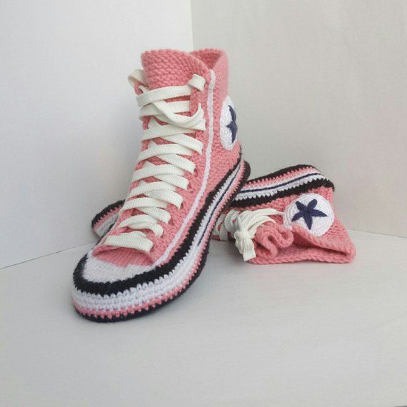 5f39af83246494 Knit Converse shoe Knitted house slippers Socks with sole Women house  slippers Knitted gift for girl