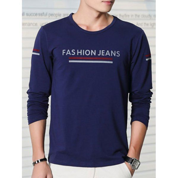 Letter Printing Round Neck Long Sleeve T-Shirt