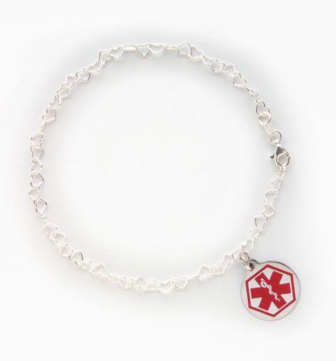 Medical Alert Ankle Bracelet With Heart Chain Love Would Need Id Read Diabetic Jessica Jasinski