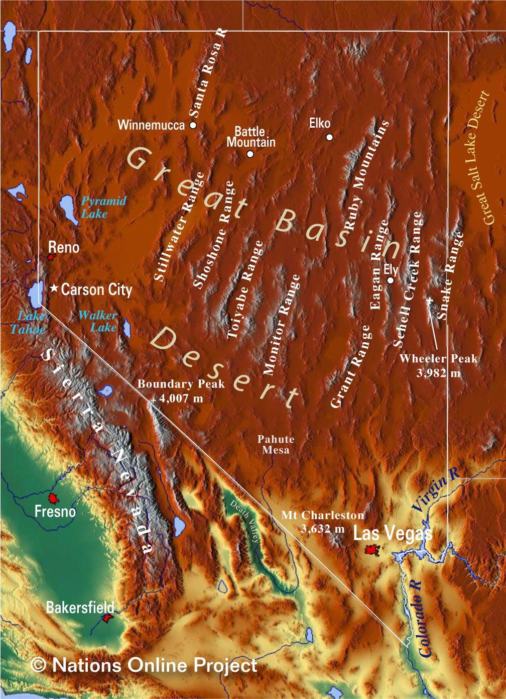 Topography Of Nevada Map Nevada Map Nevada Nevada Travel