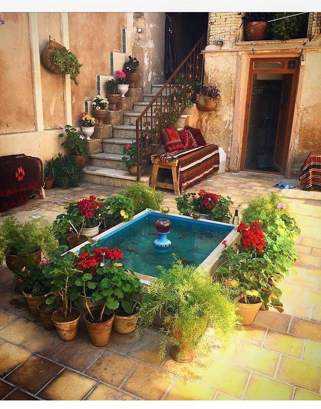 Persian home fountain in the courtyard I ❤ Iran 2 in 2018