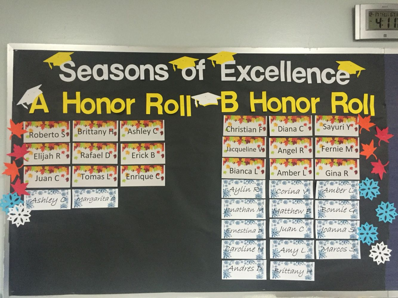 Honor Roll Bulletin Board | Seasons of Excellence Honor Roll ...