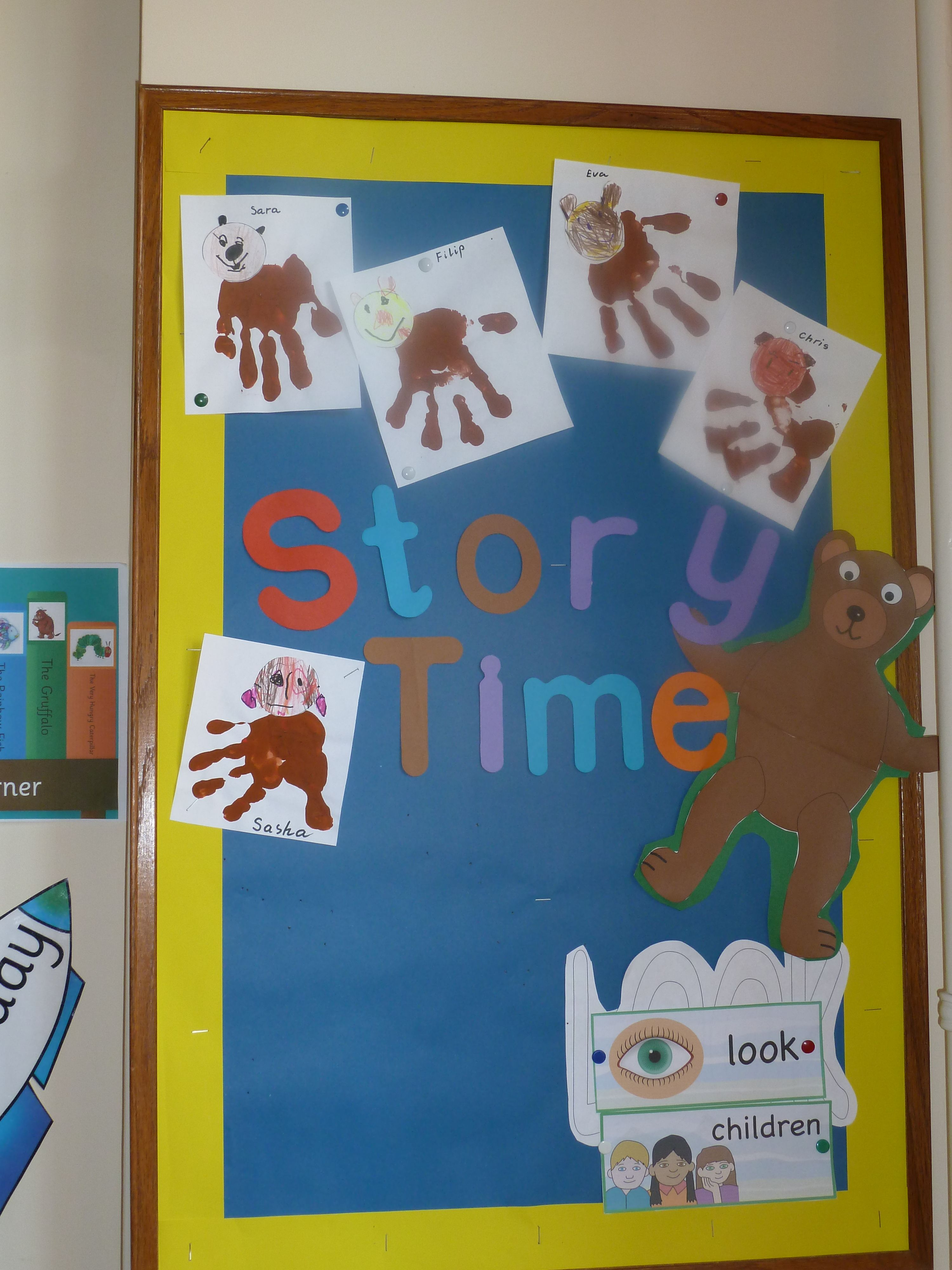 Our Reading Corner Board With The Classic Brown Bear Hand