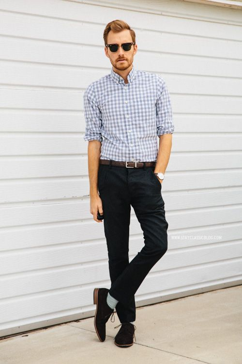 Black Derby Shoes With Chinos
