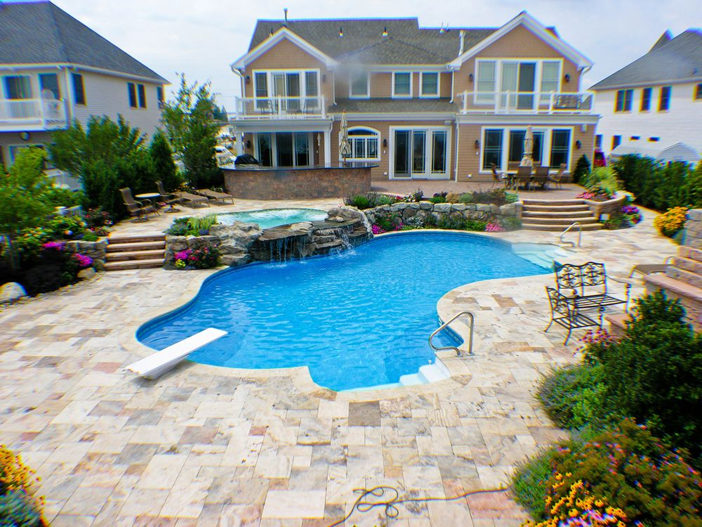 Pool Town NJ Inground Swimming Pool and spa with diving board www