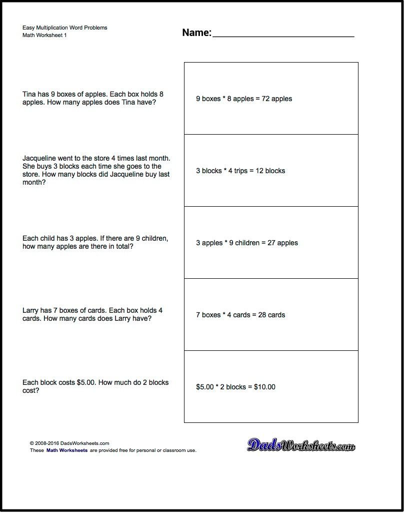 Multiplication Worksheets multiplication worksheets 4 : Free printable introductory word problem worksheets for addition ...