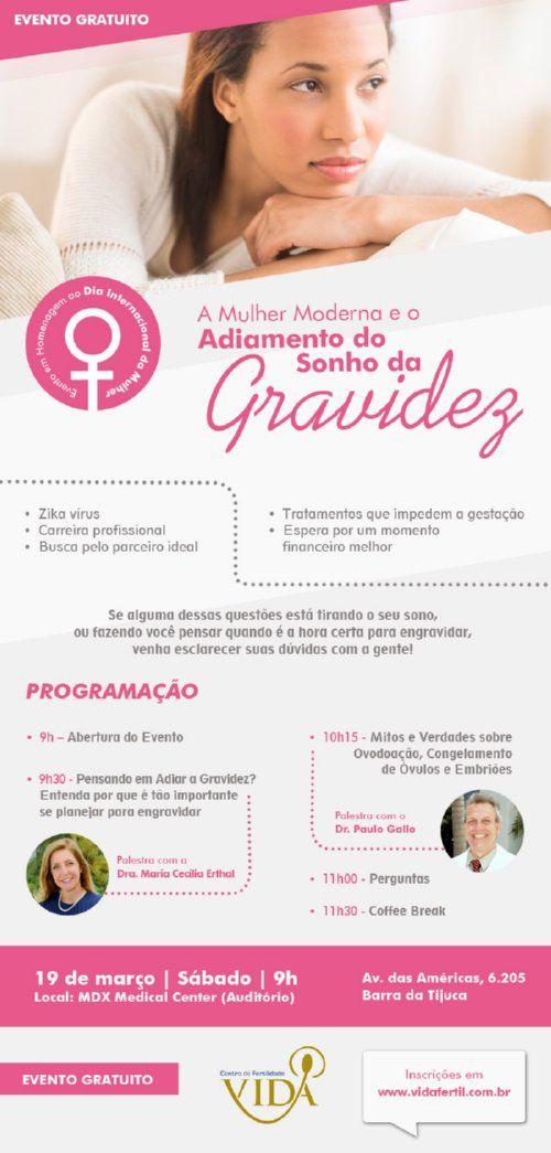 """Fertilidade: Palesta gratuita """"A Mulher Moderna e o Adiamento do Sonho da Gravidez"""" no RJ - Da Fertilidade à Maternidade!"""
