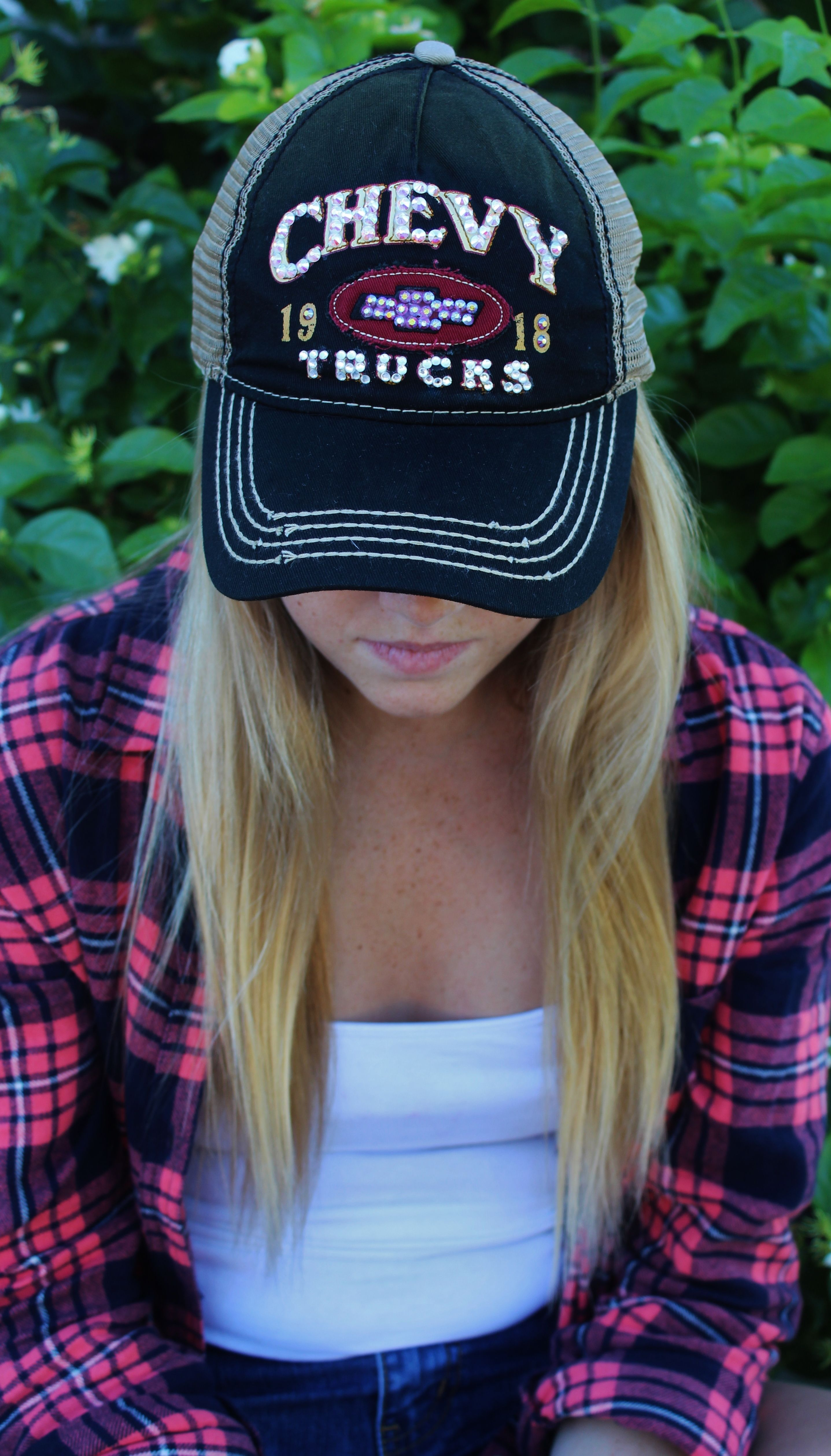 31b851d02ff6d Black and Maroon Rhinestoned Chevy Truck Baseball Hat for  35! Like us on  Facebook! Double M Tailgate