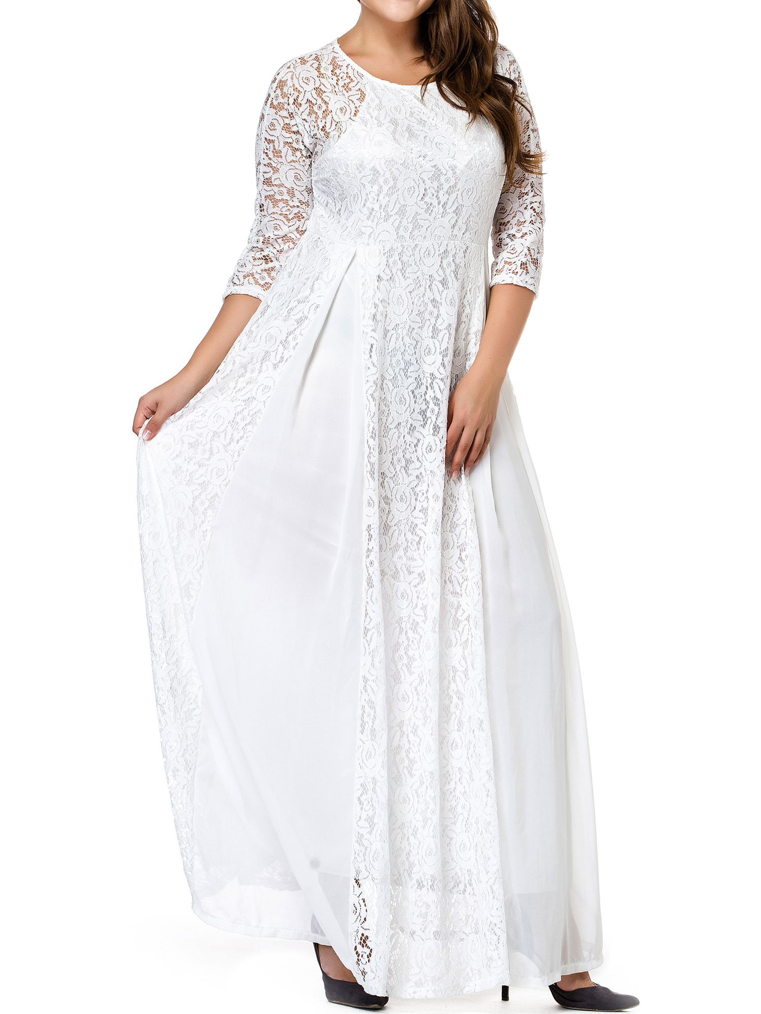 9ac83cec053 ESPRLIA Women s Plus Size Floral Lace 3 4 Sleeve Wedding Maxi Dress ...