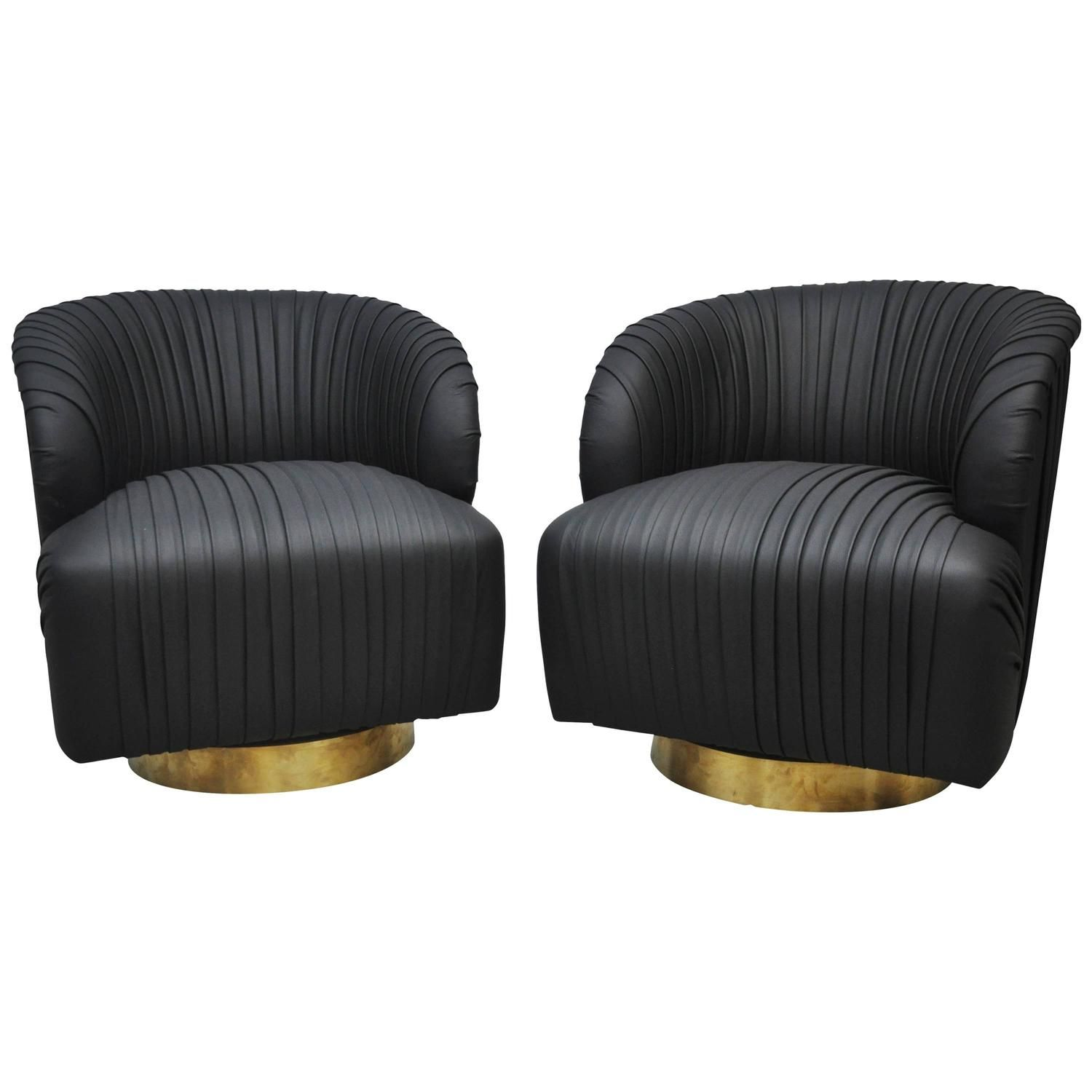 Enjoyable Pleated Leather And Brass Swivel Chairs Furniture Swivel Forskolin Free Trial Chair Design Images Forskolin Free Trialorg