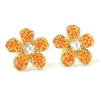 3709055bf NYC II Gemstone & White Zircon Flower Stud Earrings | Christmas Wish ...