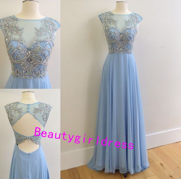 Bg133 Blue Prom Dress,Chiffon Prom Dress,Appliques Prom Dress,Beading Prom Dress,Backless Prom Dresses,Formal Women Dress