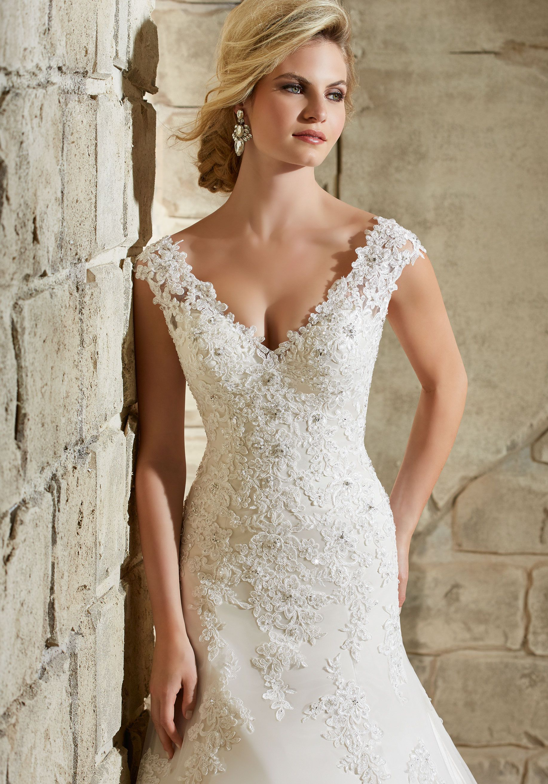 Alençon lace appliqués on net with crystal beading and scalloped
