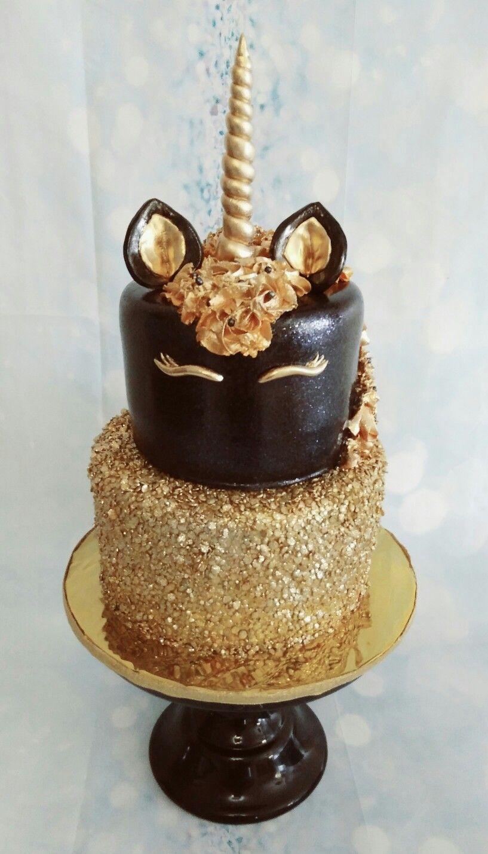 Black Gold Unicorn Cake Birthday Girls Party My
