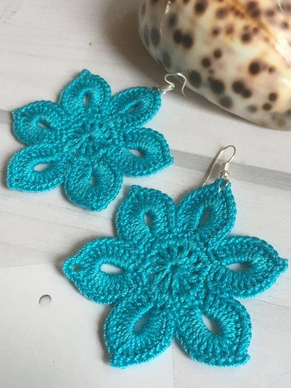 38. Tender flowery earrings, crochet earring pattern, awesome shape and eye-catching color. Craft Earrings. Easy tutorial for beginners #crochetedearrings