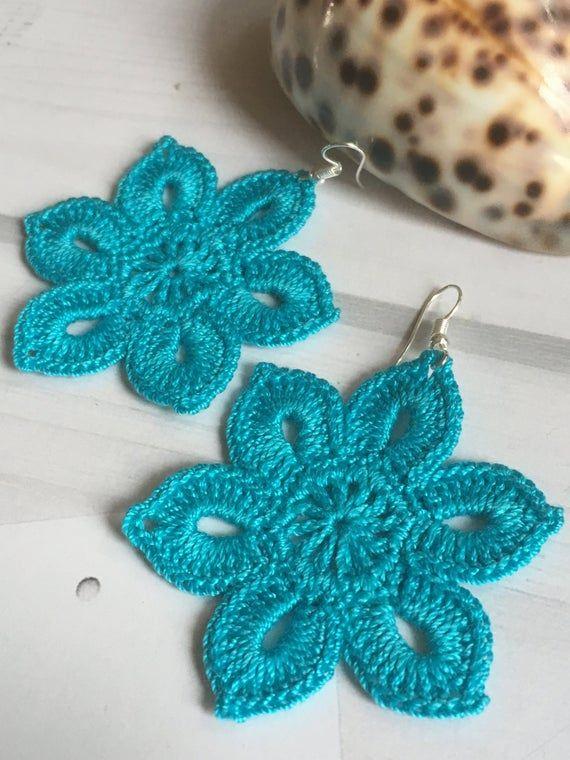 38. Tender flowery earrings, crochet earring pattern, awesome shape and eye-catching color. Craft Earrings. Easy tutorial for beginners #crochetedearrings