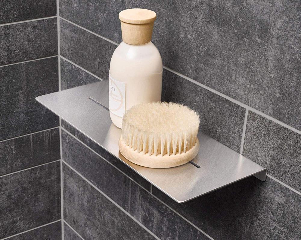 Phos Edelstahl Design Da300 30 Cm Breite Duschablage Edelstahl Massiv Geburstet Fur Dusche Waschbecken Badezimmer Halter In 2020 Duschablage Dusche Duschwanne