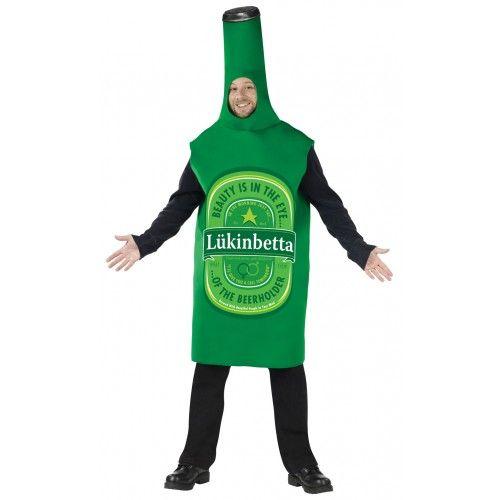 Green Beer Bottle Mens Oktoberfest Fancy Dress Adults Drink Costume Outfit New