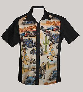 Mens Vintage Novelty Printing Tattoo Top Bowling Shirts Rockabilly Clothing