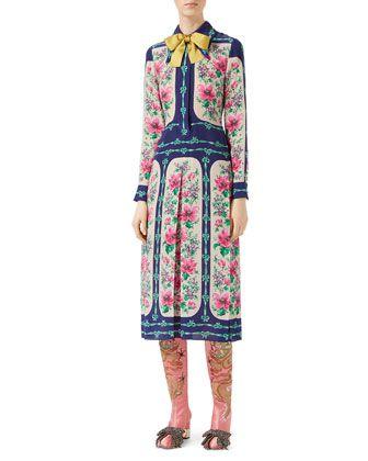 a65652c60 Rose+Window+Print+Silk+Dress