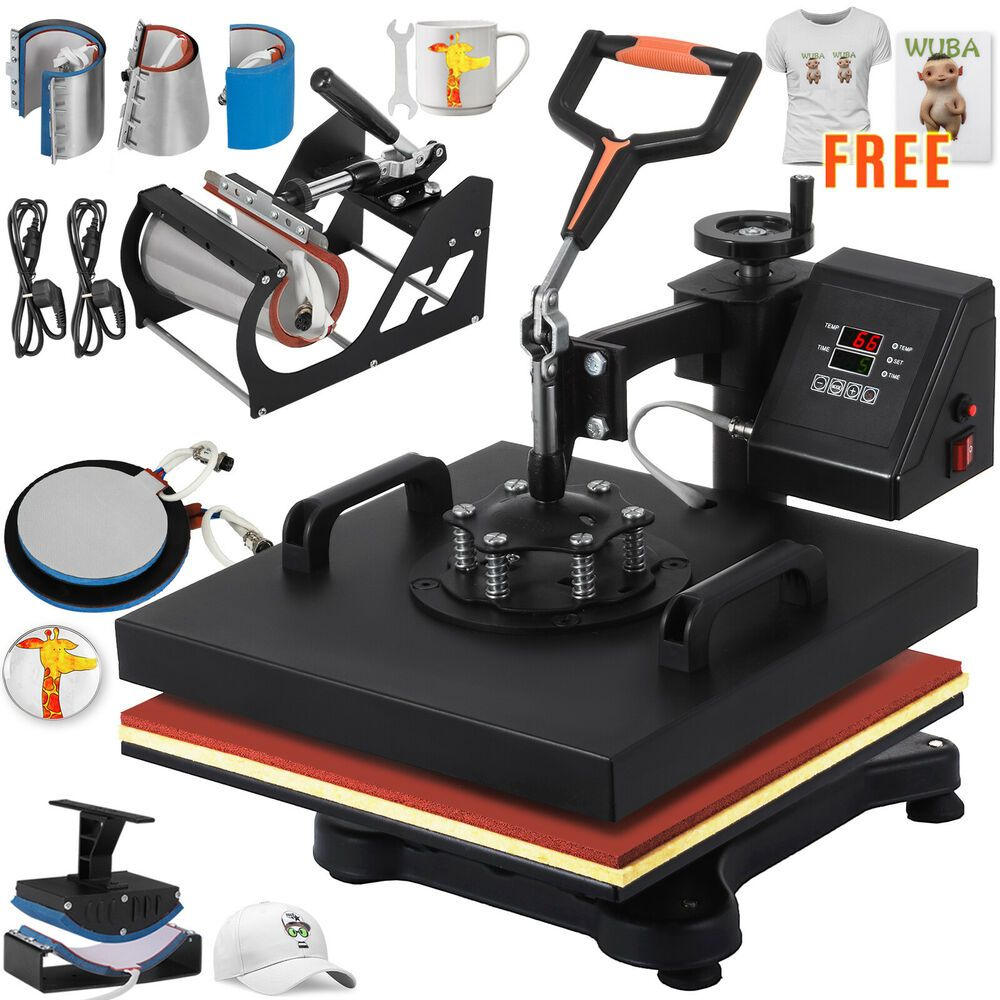 Ebay Sponsored 8 In 1 Heat Press Machine Transfer 15 X15 Printer Diy Hot Stamping Free T Shirt Heat Press Machine Heat Press Press Machine