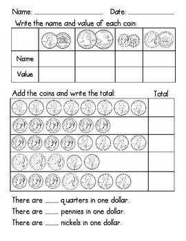 First Grade Money Test | Teachers-PIN-Teachers | Teaching money ...