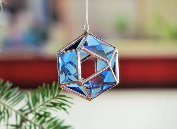 Christmas Tree Ornament Blue Glass Crystal by SNLCreations on Etsy