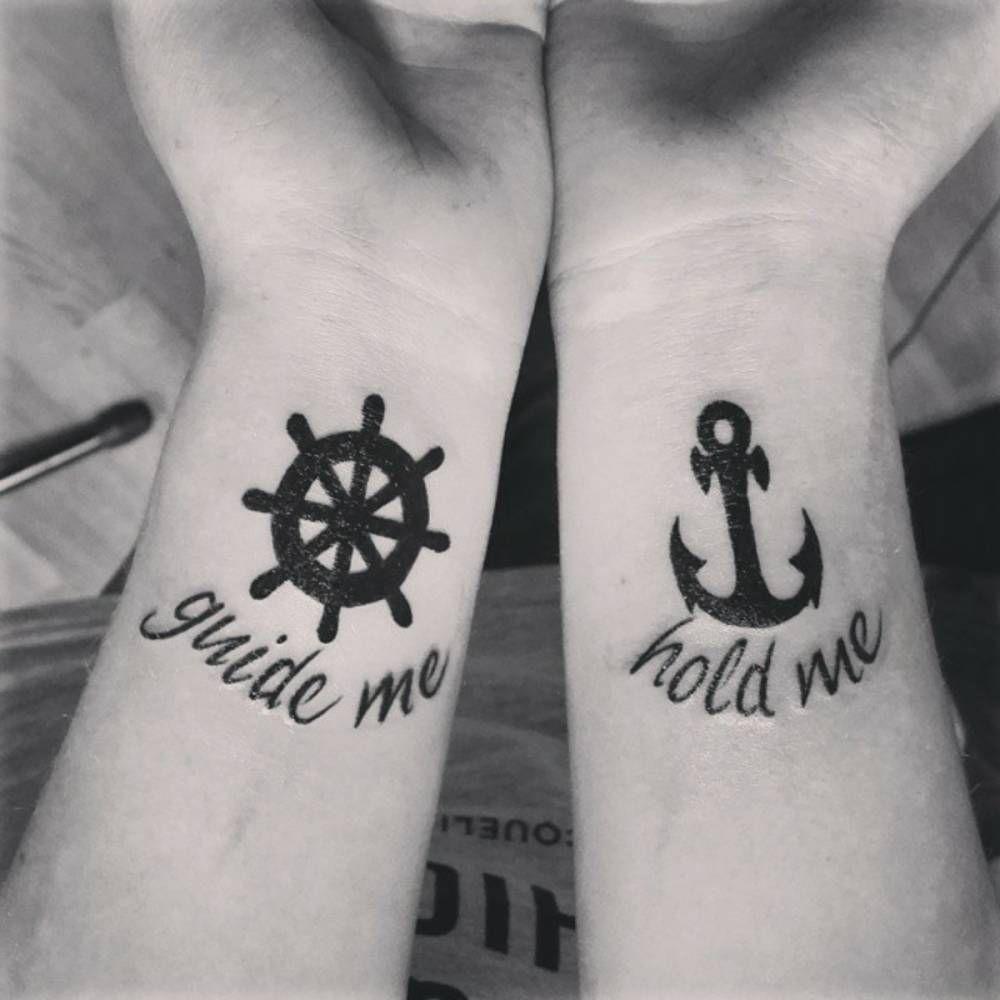 Pequenos Tatuajes De Un Timon Y Un Ancla Con Las Frases Guide Me