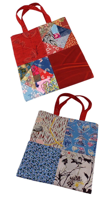 92fede8ac7d0 Tote bag made from Japanese kimono pieces! Two bags for one!  japanese   kimono  totebag  handmade  kimonovintage  patchwork  traditionaljapanese   handbag ...