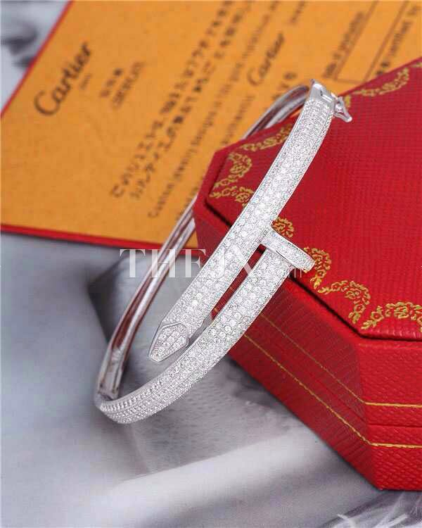 Replica Cartier Classic Nail  Rhinestone Silver Bracelet One Color 1:1 High Quality Cartier Bracelet B 3150238