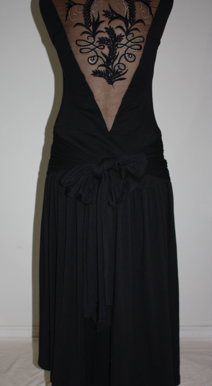 Retro s dress lisa ho embroidered sheer back cut out long black